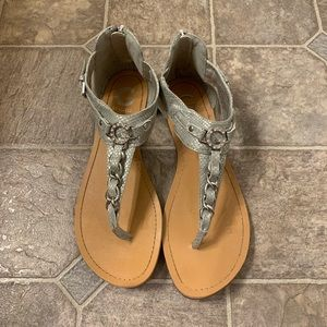 G By Guess Silver Sandals